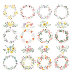 Different circle shapes with floral elements vector