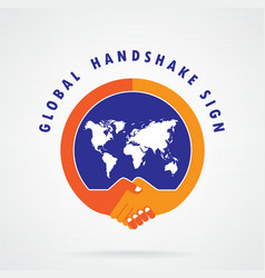 Global handshake abstract sign vector image vector image