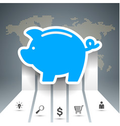 pig coin bussines infographic vector image