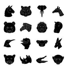 realistic animals set icons in black style big vector image vector image