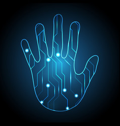 technology cyber security hand palm circuit vector image