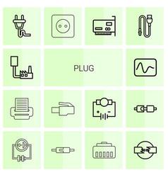 14 plug icons vector