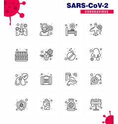 16 line set corona virus epidemic icons vector