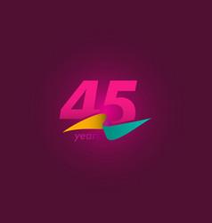 45 years anniversary celebration purple ribbon vector