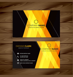 abstract yellow dark business card design vector image