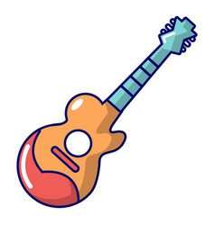 Acoustic guitar icon cartoon style vector