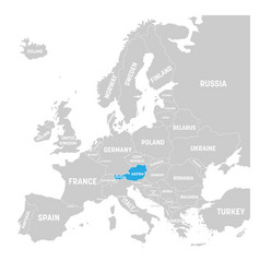 austria marked by blue in grey political map of vector image