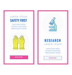 Banners about research and safety vector