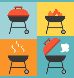 Barbecue and grill icons set vector