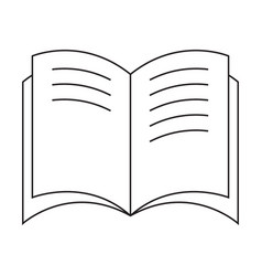 Black and white open book icon with text vector
