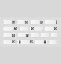 blank ticket template mockup with barcode vector image