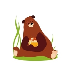 Cartoon Bear Hugging Honey in vector