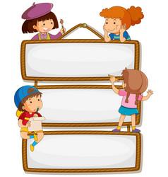 Children on empty signboard vector