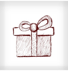 Christmas gift with bow vector