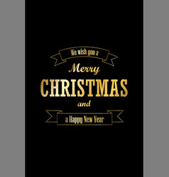 christmas tree card wishes text ribbon black vector image