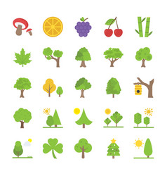 Collection of trees and landscapes flat icon vector