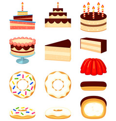 colorful cartoon 12 dessert icon set vector image