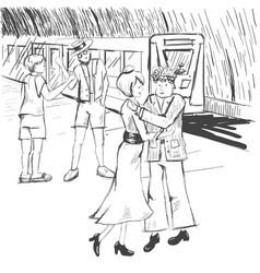 comic strip people say goodbye at the subway a vector image