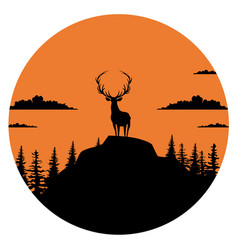 Composition a circle an with elk staying on the vector