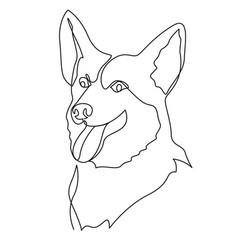 Continuous one line drawing welsh corgi pembroke vector