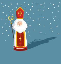 Cute christmas greeting card with saint nicholas vector