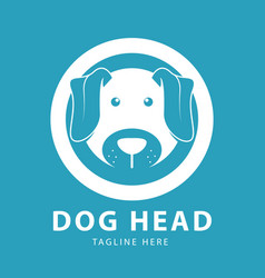 cute dog head logo circles design template vector image