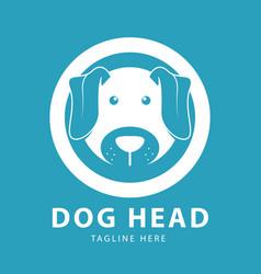 cute dog head logo circles design template vector image
