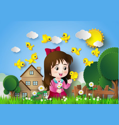 Cute girl sitting in a flower garden vector