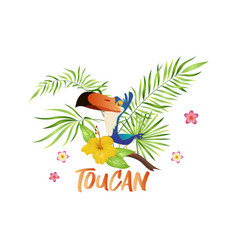 cute toucan cartoon bird with tropical branch vector image