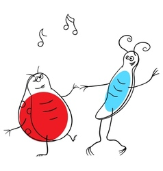Dancing bugs vector image