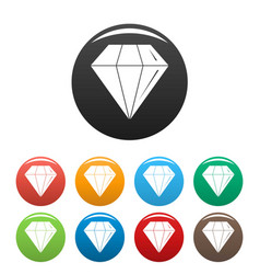 diamond stone icons set color vector image