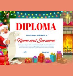 Diploma award with christmas fireplace and santa vector