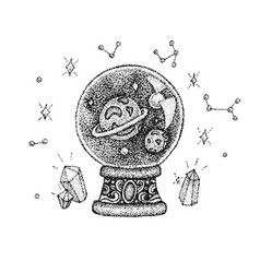 dotwork glass ball with space vector image