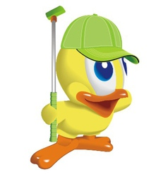 Duck play golf vector