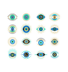 Evil eyes collection contemporary modern trendy vector