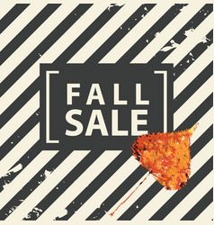 fall sale banner with bright autumn poplar leaf vector image