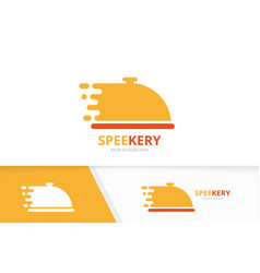 fast dish logo combination speed plate vector image