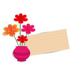 flower pot with paper note vector image