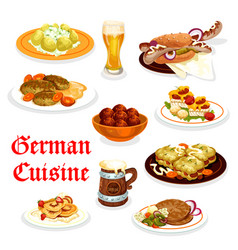 german cuisine dinner icon with oktoberfest food vector image