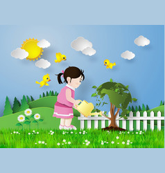 Girl pouring water on the tree vector