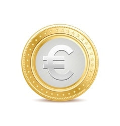Golden euro coin vector