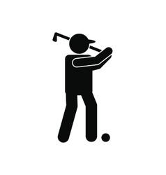 Golfer silhouette icon vector