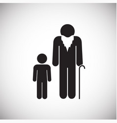 Grand parent with child on white background vector