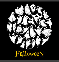 Halloween ghost or holiday spirit round poster vector