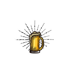 hand drawn glass of beer craft beer logo designs vector image