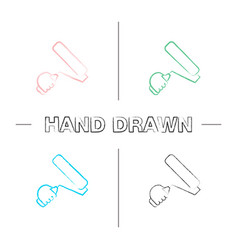 Hand holding paint roller hand drawn icons set vector