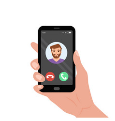 Hand holding smartphone with incoming call on the vector