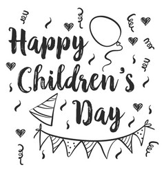 Happy childrens day doodle style vector