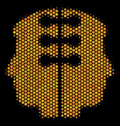 Hexagon halftone dual head interface icon vector