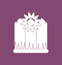 Icon fence and sunflowers vector